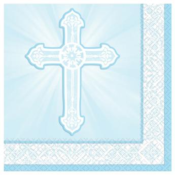 Imagen de Servilletas Comunión azul cruz (16)