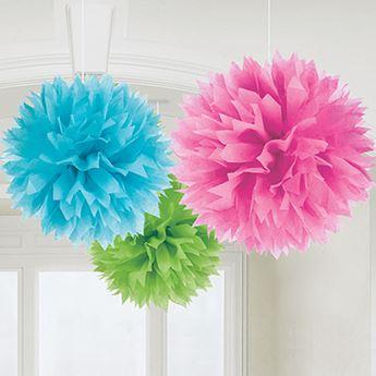 Imagens de Pompón azul, rosa y verde (3)