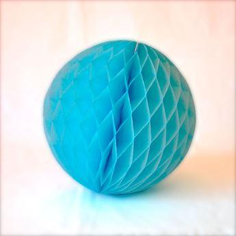 Imagens de Decorado bola nido de abeja azul pastel 20cm