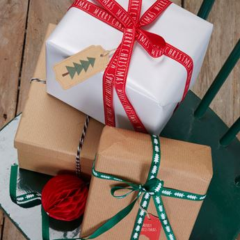 Imagen de Cintas tela regalos Navidad