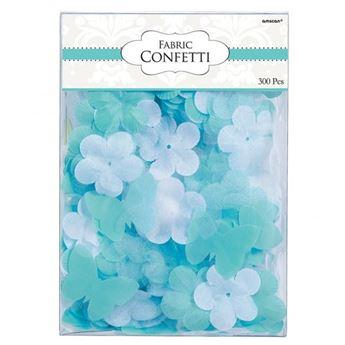 Picture of Confeti tela flores y mariposas turquesa