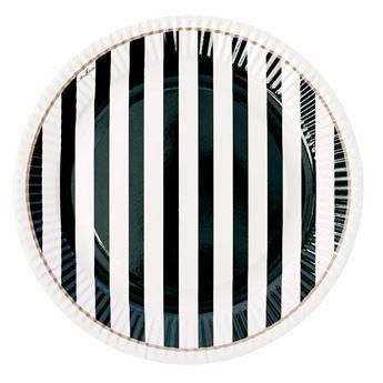 Imagen de Platos rayas blanco y negro (8)