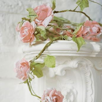 Imagens de Guirnalda flores rosa romántica 1,5mts