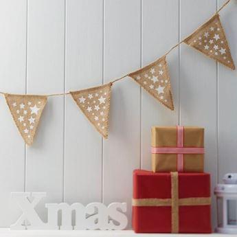 Imagen de Banderín yute Navidad estrellas