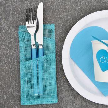 Imagens de Bolsas para cubiertos y servilletas turquesa (4)