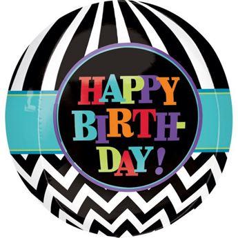 Imagen de Globo cumpleaños esferico chevron