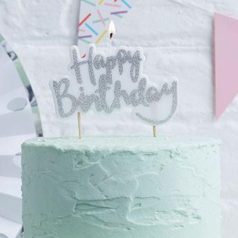 Imagen de Vela happy birthday plata