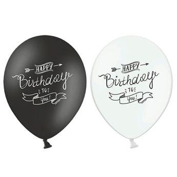 Imagen de Globos feliz cumpleaños blanco y negro (6)