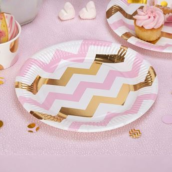 Imagen de Platos chevron rosa y dorado (8)