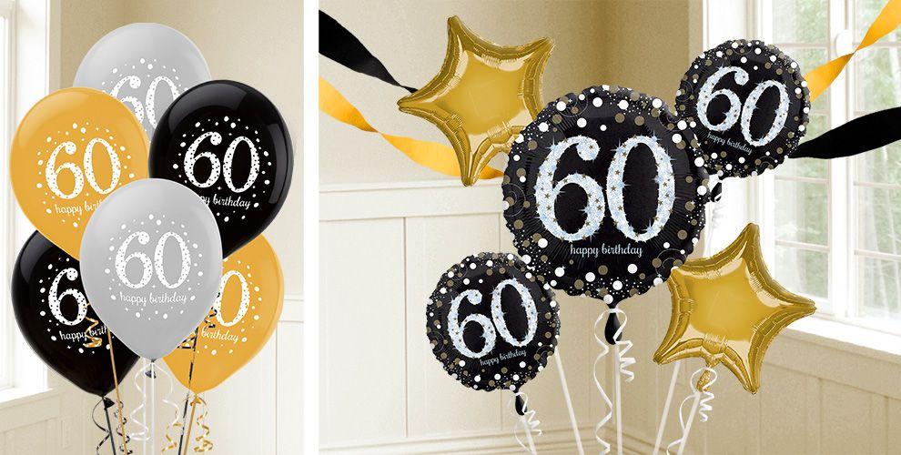 60th Cumpleaños Elegante Destellos inflado Foil Balloon en una caja