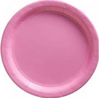 Imagen de Platos rosa pastel de cartón grandes (8)
