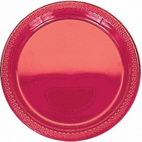 Imagen de Platos rojo plástico grandes (10)