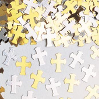 Imagens de Confeti cruz comunión plata y oro (14g)