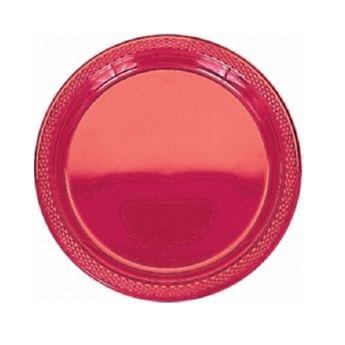 Imagens de Platos rojo plástico pequeños (20)