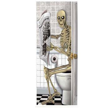 Imagen de Decorado puerta baño miedo