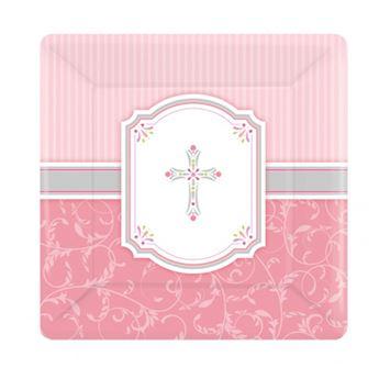 Imagen de Platos comunión rosa pequeños (8)