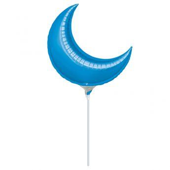 Picture of Globo luna azul 25cm palito