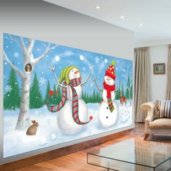 Imagen de Decorado pared muñecos de nieve jugando