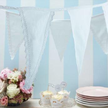 Imagen de Banderín romántico blanco tela