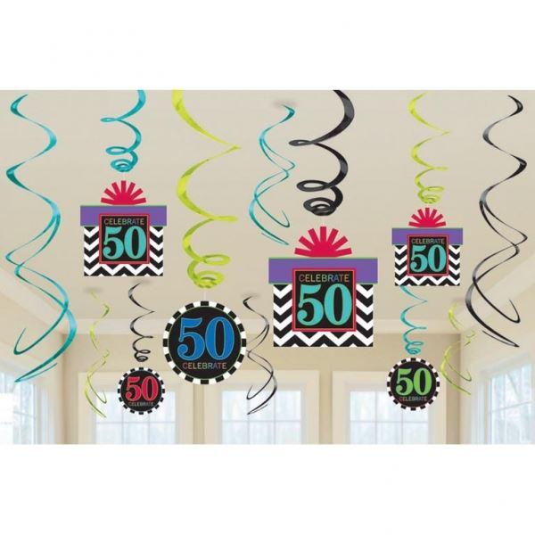 Comprar decorados espirales 50 a os chevron 12 online - Decoracion para 50 cumpleanos ...