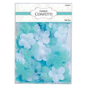 Imagen de Confeti tela flores y mariposas turquesa