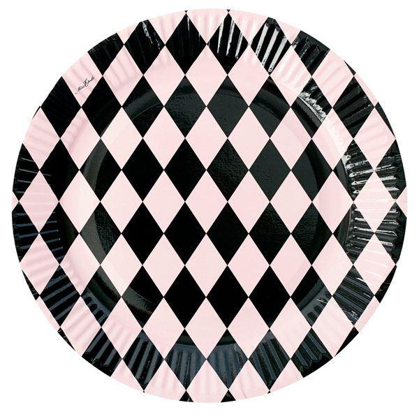 Imagen de Platos rombos rosa y negro (8)