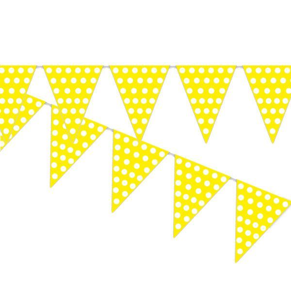 Imagen de Banderín amarillo puntos blancos (5m)