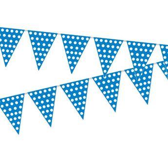 Imagen de Banderín azul puntos blancos (5m)