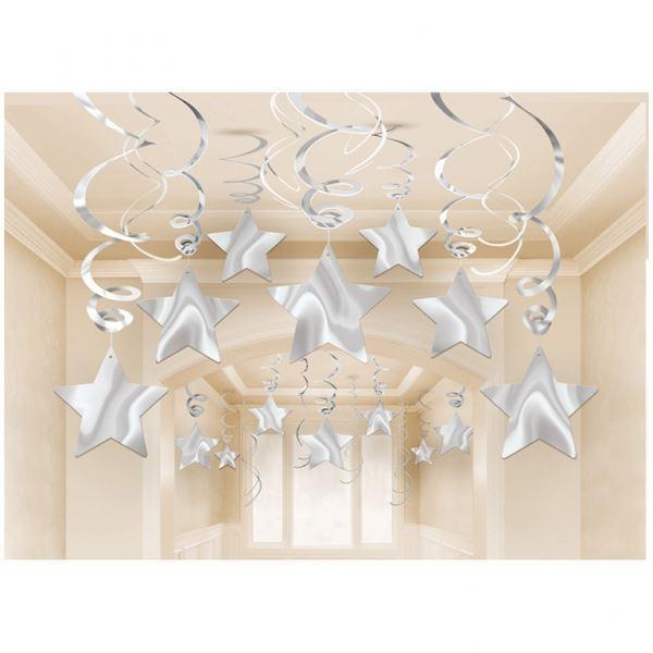 Imagen de Decorados espirales estrellas plata (30)