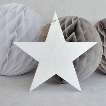 Picture of Decorado colgante estrella madera blanca
