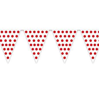 Picture of Banderín blanco puntos rojos (5m)