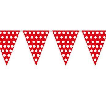 Imagen de Banderín rojo puntos blancos (5m)