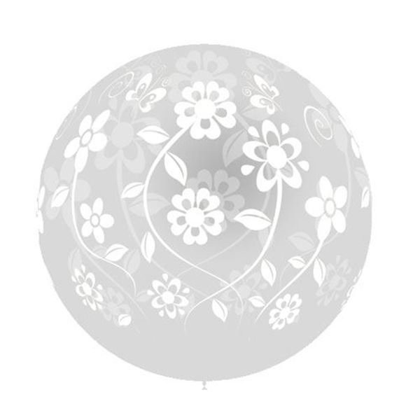 Imagen de Globo transparente flores 90cm