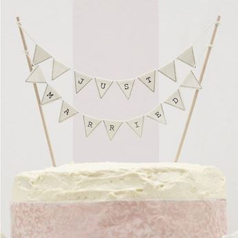 Imagen de Topper tarta banderín Just Married