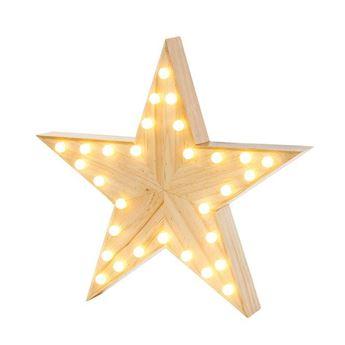 Picture of Estrella con luz madera