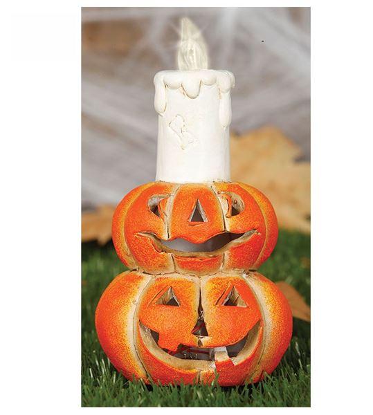 Imagen de Decorado calabazas porcelana con luz 16cm