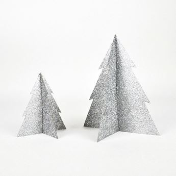 Picture of Decorado árbol Navidad plata purpurina 13cm