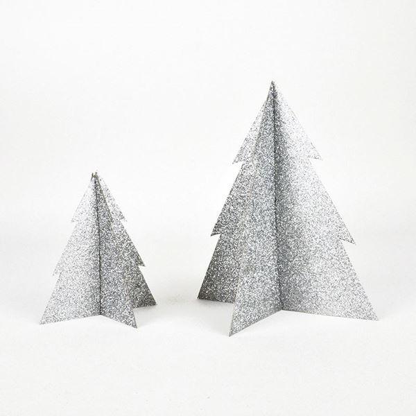 Imagen de Decorado árbol Navidad plata purpurina 13cm