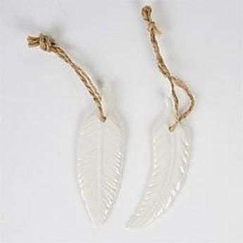 Imagen de Adorno pluma blanca cerámica