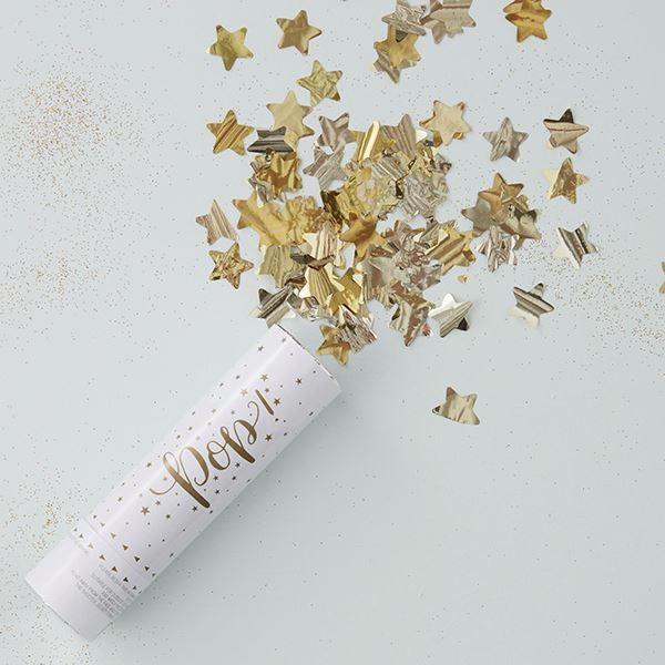 Imagen de Mini Cañón de confeti oro brillante
