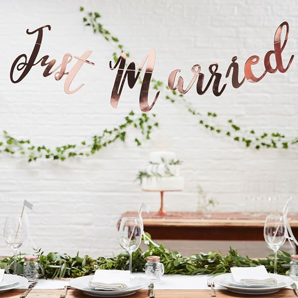 Picture of Banner Just married oro rosa