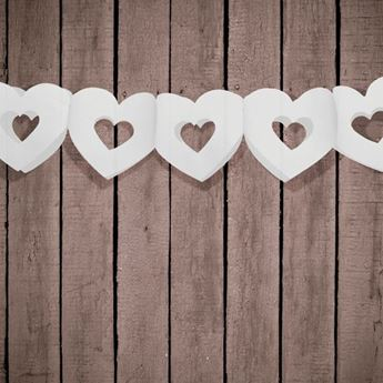 Imagen de Guirnalda corazones blanco troquelado 3mts