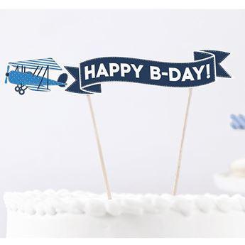 Imagen de Topper tarta avión feliz cumpleaños