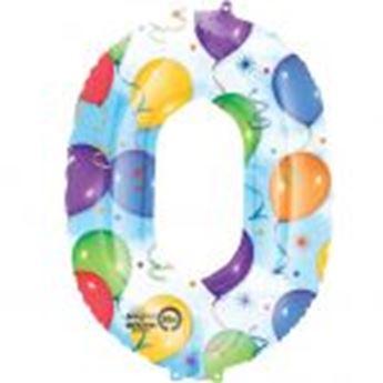 Picture of Globo número 0 globos y confeti gigante