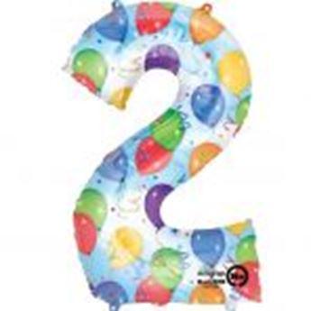 Picture of Globo número 2 globos y confeti gigante