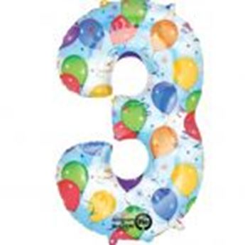 Picture of Globo número 3 globos y confeti gigante