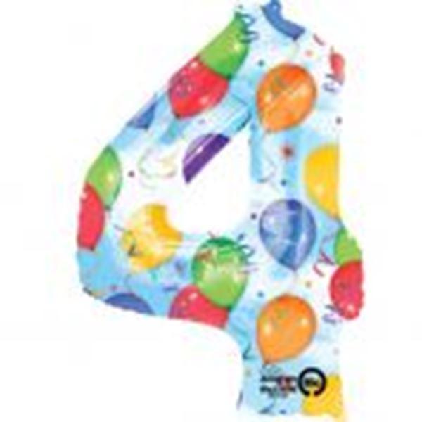 Imagen de Globo número 4 globos y confeti gigante