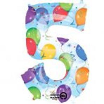 Picture of Globo número 5 globos y confeti gigante