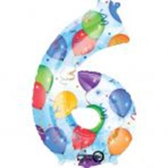 Imagen de Globo número 6 globos y confeti gigante