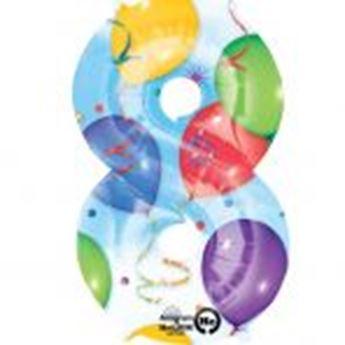Picture of Globo número 8 globos y confeti gigante
